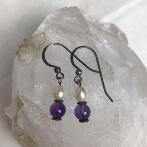 Vtg .925 sterling silver pearl amethyst earrings